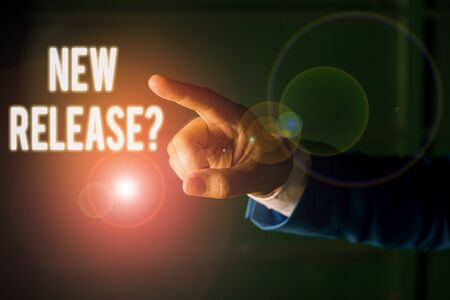 Word writing text New Release Question. Business photo showcasing asking about recent product or service newly unleashed Isolated hand pointing with finger. Business concept pointing finger