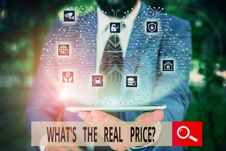 Conceptual hand writing showing What S The Real Price Question. Concept meaning Give actual value of property or business Male wear formal work suit presenting presentation smart device