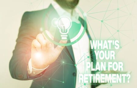 Word writing text What S Your Plan For Retirement Question. Business photo showcasing Savings Pension Elderly retire Male human wear formal work suit presenting presentation using smart device