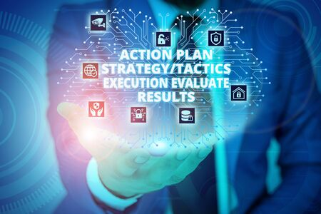 Conceptual hand writing showing Action Plan Strategy Ortacti. Concept meaning Action Plan Strategy Or Tactics Execution Evaluate Results Male wear formal suit presenting presentation smart device
