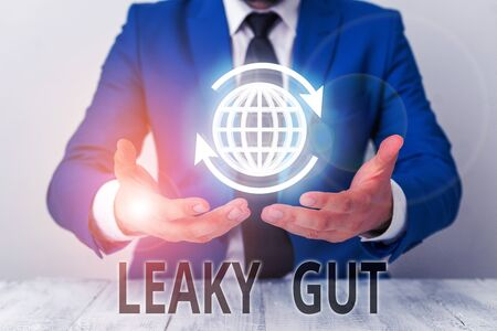 Text sign showing Leaky Gut. Business photo showcasing A condition in which the lining of small intestine is damaged Фото со стока