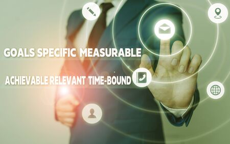 Word writing text Goals Specif Measureable AC. Business photo showcasing Goals Specific Measurable Achievable Relevant Time Bound