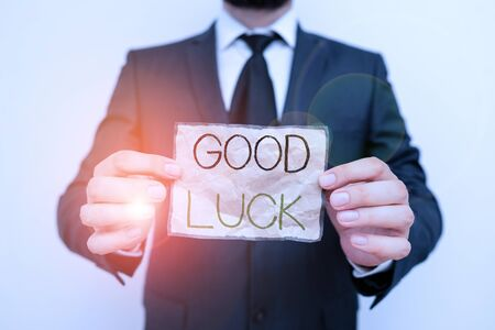 Writing note showing Good Luck. Business concept for A positive fortune or a happy outcome that a demonstrating can have