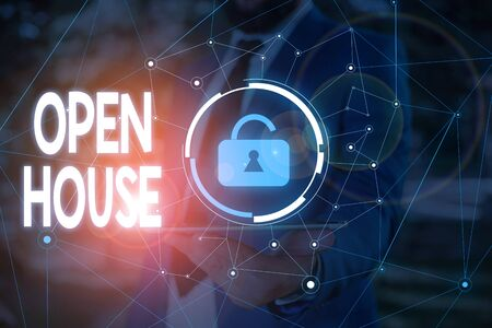 Conceptual hand writing showing Open House. Concept meaning you can come whatever whenever want Make yourself at home Male wear formal work suit presenting presentation smart device