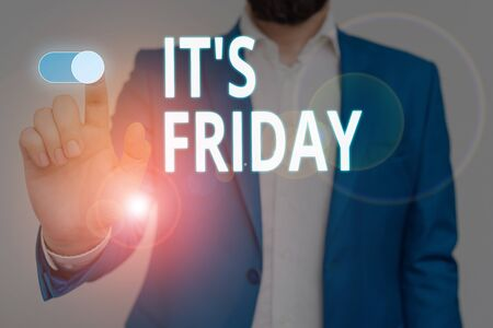 Conceptual hand writing showing It S Friday. Concept meaning Last day of the working week Before Saturday or weekends Male wear formal suit presenting presentation smart device