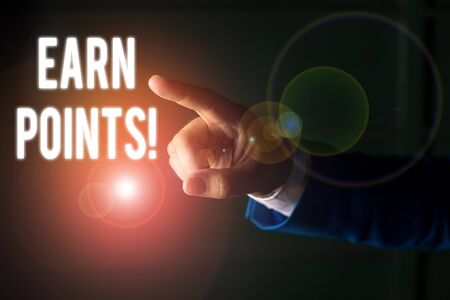 Word writing text Earn Points. Business photo showcasing collecting scores in order qualify to win big prize Isolated hand pointing with finger. Business concept pointing finger