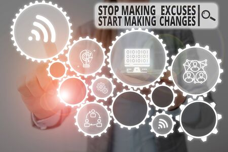 Word writing text Stop Making Excuses Start Making Changes. Business photo showcasing Do not give an excuse Act instead Woman wear formal work suit presenting presentation using smart device