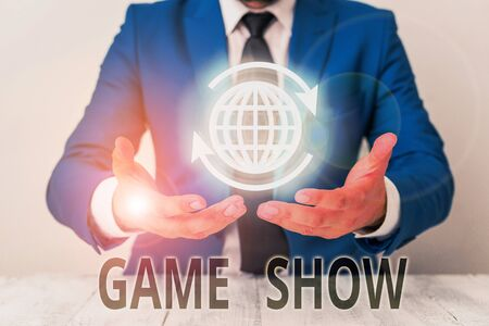 Text sign showing Game Show. Business photo showcasing Program in television or radio with players that win prizes