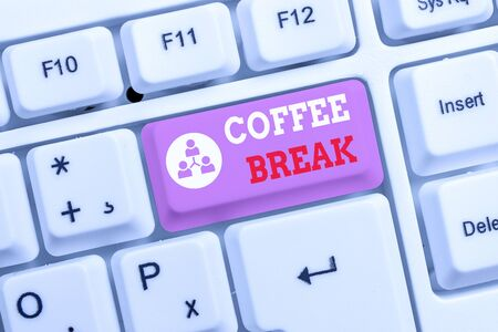 Conceptual hand writing showing Coffee Break. Concept meaning short time when you stop working to have a cup of coffee White pc keyboard with note paper above the white background Stock fotó