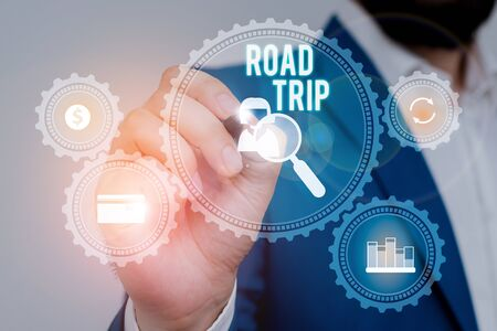 Text sign showing Road Trip. Business photo showcasing Roaming around places with no definite or exact target location Male human wear formal work suit presenting presentation using smart device Stock fotó