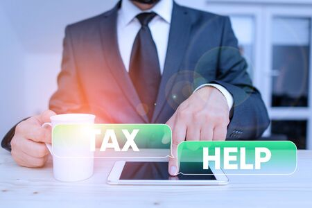 Word writing text Tax Help. Business photo showcasing Assistance from the compulsory contribution to the state revenue