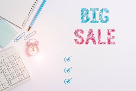 Word writing text Big Sale. Business photo showcasing putting products on high discount Great price Black Friday Business concept with blank white space for advertising and text message Stock fotó