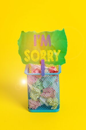 Word writing text I M Sorry. Business photo showcasing Toask for forgiveness to someone you unintensionaly hurt Trash bin crumpled paper clothespin empty reminder office supplies yellow