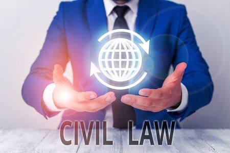 Text sign showing Civil Law. Business photo showcasing Law concerned with private relations between members of community