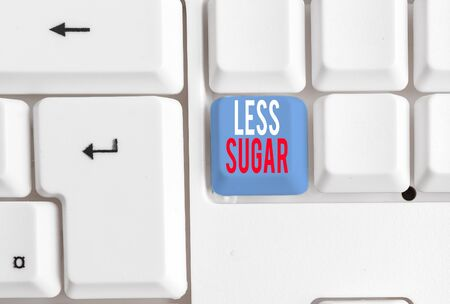 Handwriting text writing Less Sugar. Conceptual photo Lower volume of sweetness in any food or drink that we eat White pc keyboard with empty note paper above white background key copy space