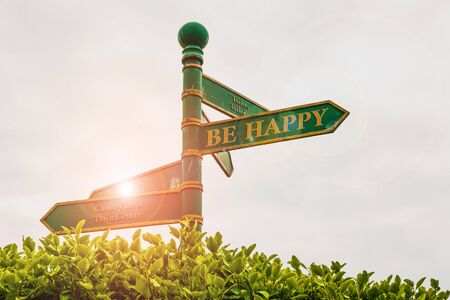 Text sign showing Be Happy. Business photo showcasing live every moment as the last love your life work family Green road sign on the crossroads with cloudy sky and green grass in the background