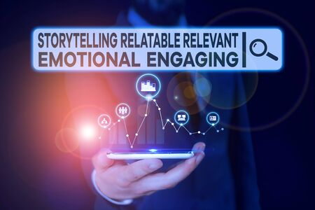 Conceptual hand writing showing Story Telling relatablerele. Concept meaning Storytelling Relatable Relevant Emotional Engaging Male wear formal suit presenting presentation smart device