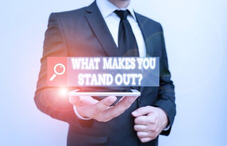 Word writing text What Makes You Stand Out Question. Business photo showcasing asking someone about his qualities