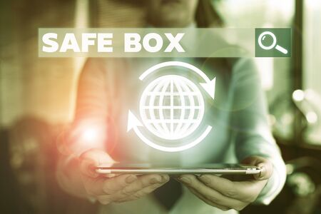 Conceptual hand writing showing Safe Box. Concept meaning A small structure where you can keep important or valuable things Reklamní fotografie