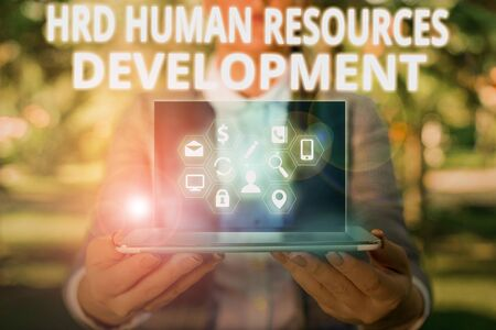 Writing note showing Hrd Huanalysis Resources Development. Business concept for helping employees develop demonstratingal skills Stockfoto