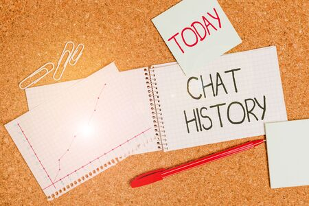 Writing note showing Chat History. Business concept for archive of transcripts from online chat and instant messaging Desk notebook paper office paperboard study supplies chart Reklamní fotografie