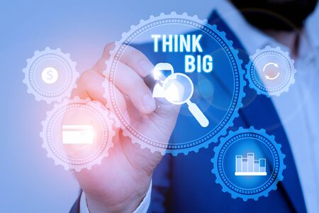 Text sign showing Think Big. Business photo showcasing To plan for something high value for ones self or for preparation Male human wear formal work suit presenting presentation using smart device