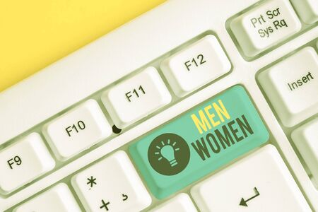 Conceptual hand writing showing Men Women. Concept meaning The state where in a boy or a girl turns to be a mature adult White pc keyboard with note paper above the white background