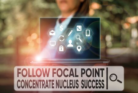 Text sign showing Follow Focal Point Concentrate Nucleus Success. Business photo text Concentration look for target
