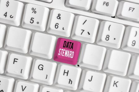 Handwriting text writing Data Steward. Conceptual photo responsible for utilizing an organization s is data governance White pc keyboard with empty note paper above white background key copy space Reklamní fotografie