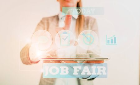 Text sign showing Job Fair. Business photo text An event where a demonstrating can apply for a job in multiple companies Female human wear formal work suit presenting presentation use smart device Imagens