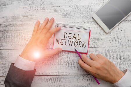 Handwriting text writing Deal Network. Conceptual photo platform for secure document sharing and collaboration