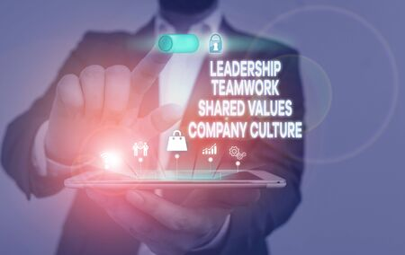 Handwriting text writing Leadership Teamwork Shared Values Company Culture. Conceptual photo Group Team Success Male human wear formal work suit presenting presentation using smart device