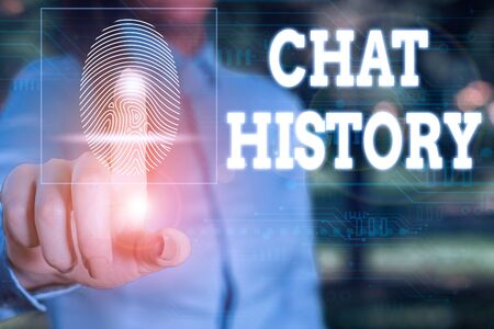 Conceptual hand writing showing Chat History. Concept meaning archive of transcripts from online chat and instant messaging Woman wear work suit presenting presentation smart device Reklamní fotografie