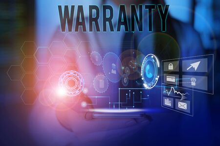 Conceptual hand writing showing Warranty. Concept meaning Free service of repair and maintenance of the product sold Woman wear work suit presenting presentation smart device