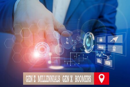 Handwriting text writing Gen Z Millennials Gen X Boomers. Conceptual photo Generational differences Old Young showing Male human wear formal work suit presenting presentation using smart device
