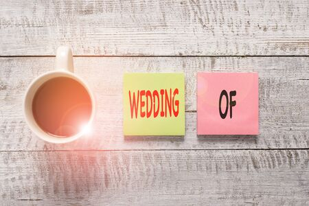 Handwriting text writing Wedding Of. Conceptual photo announcing that analysis and woanalysis now as married couple forever Stationary placed next to a cup of black coffee above the wooden table