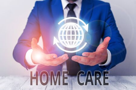 Text sign showing Home Care. Business photo showcasing Place where showing can get the best service of comfort rendered