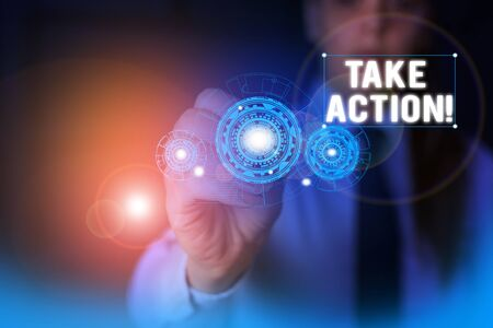 Text sign showing Take Action. Business photo showcasing do something official or concerted to achieve aim with problem Woman wear formal work suit presenting presentation using smart device