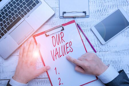 Word writing text Our Values. Business photo showcasing list of morals companies or individuals commit to do them Reklamní fotografie