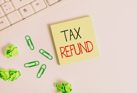 Handwriting text Tax Refund. Conceptual photo applied when money liability is less than the paid ones Square empty green note paper with pencil on the white background and pc keyboard
