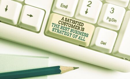 Writing note showing A Satisfied Customer is the be. Business concept for A Satisfied Customer Is The Best Business Strategy Of All White pc keyboard with note paper above the white background
