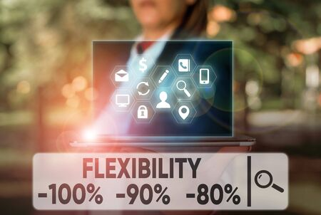 Text sign showing Flexibility 100 Percent 90 Percent 80 Percent. Business photo text How much flexible you are maleability level Stock Photo