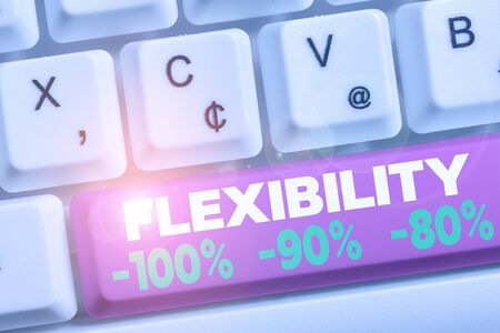 Word writing text Flexibility 100 Percent 90 Percent 80 Percent. Business photo showcasing How much flexible you are maleability level White pc keyboard with empty note paper above white background key copy space Stock Photo