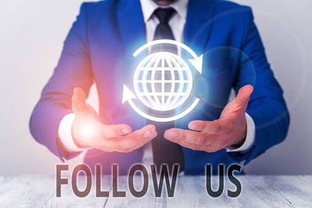 Text sign showing Follow Us. Business photo showcasing Act of demonstrating to invite an individual or group to join his company