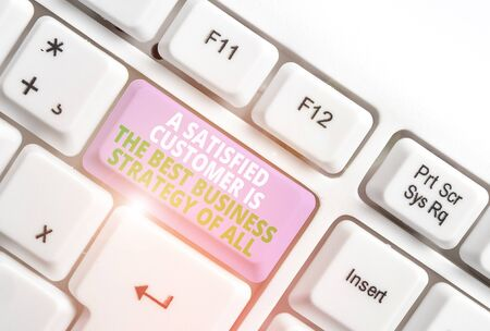 Text sign showing A Satisfied Customer is the be. Business photo text A Satisfied Customer Is The Best Business Strategy Of All White pc keyboard with empty note paper above white background key copy space