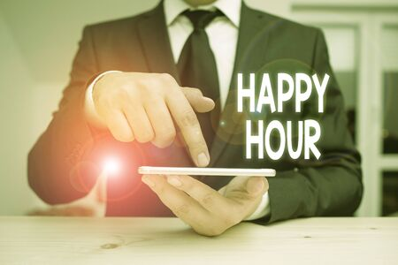 Writing note showing Happy Hour. Business concept for Spending time for activities that makes you relax for a while Reklamní fotografie