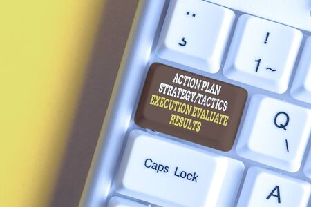 Text sign showing Action Plan Strategy Ortacti. Business photo text Action Plan Strategy Or Tactics Execution Evaluate Results White pc keyboard with empty note paper above white background key copy space