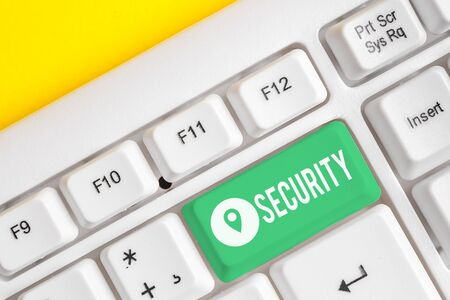 Text sign showing Security. Business photo text The state of feeling safe stable and free from fear or danger White pc keyboard with empty note paper above white background key copy space Imagens