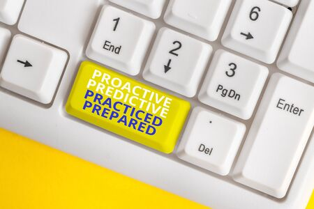 Writing note showing Proactive Predictive Practiced Prepared. Business concept for Preparation Strategies Management White pc keyboard with note paper above the white background 版權商用圖片