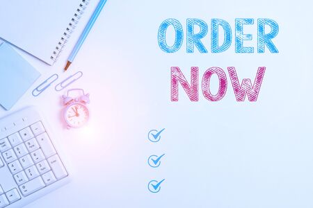 Word writing text Order Now. Business photo showcasing service restaurants or stores provide to get what you need home Business concept with blank white space for advertising and text message